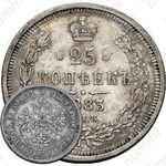25 копеек 1883, СПБ-ДС