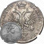 1 рубль 1727, Екатерина, московский тип, портрет вправо, под хвостом орла две точки