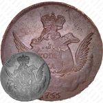1 копейка 1755, без обозначения монетного двора, гурт сетчатый