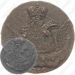 1 копейка 1756, без обозначения монетного двора, гурт московского монетного двора