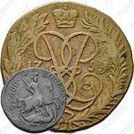 2 копейки 1758, номинал над Св. Георгием, гурт екатеринбургского монетного двора