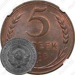 5 копеек 1924, поверхность земного шара плоская