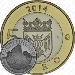 Медно-никелевая монета 5 евро 2014, лиса