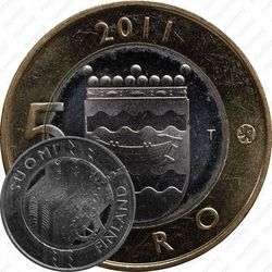 Медно-никелевая монета 5 евро 2011, Уусимаа