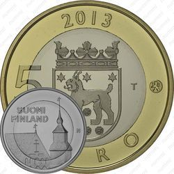Медно-никелевая монета 5 евро 2013, церковь Святого Лаврентия