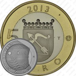 Медно-никелевая монета 5 евро 2013, крепость Олафсборг