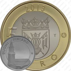 Медно-никелевая монета 5 евро 2013, Кафедральный собор в Турку