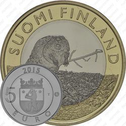 Медно-никелевая монета 5 евро 2015, бобр