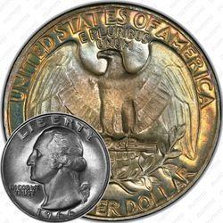 Медная монета 25 центов 1966