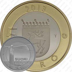 Медно-никелевая монета 5 евро 2013, маяк острова Сельскер