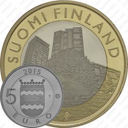 Медно-никелевая монета 5 евро 2015, ёж