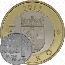 Медно-никелевая монета 5 евро 2013, некрополь Саммаллахденмяки