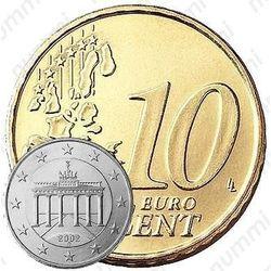 Бронзовая монета 10 евро центов 2002