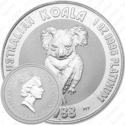 Платиновая монета 100 долларов 1988, коала