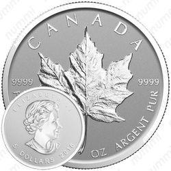 5 долларов 2016, год обезьяны (Canadian Silver Maple Leaf (кленовый лист))
