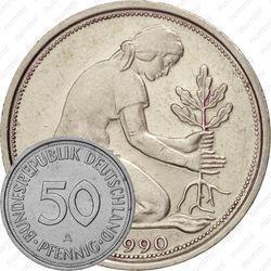 Медно-никелевая монета 50 пфеннигов 1990