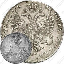 1 рубль 1725, СПБ, Екатерина I, петербургский тип, портрет влево, СПБ под орлом, орденская звезда без лучей