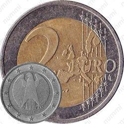 2 евро 2002, регулярный чекан Германии