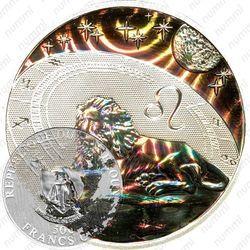 Серебряная монета 500 франков 2010, лев
