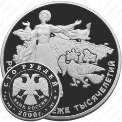 Серебряная монета 100 рублей 2000, Россия
