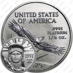 Платиновая монета 25 долларов 1997, американский орёл