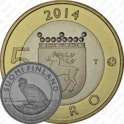 Медно-никелевая монета 5 евро 2014, орлан-белохвост