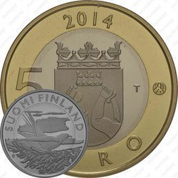 Медно-никелевая монета 5 евро 2014, кукушка