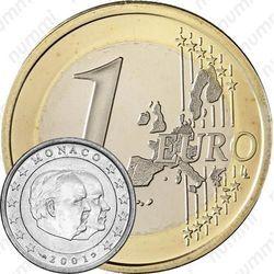 Медно-никелевая монета 1 евро 2001