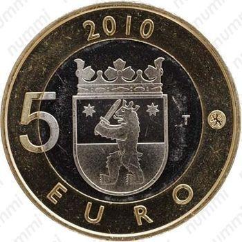Медно-никелевая монета 5 евро 2010, Сатакунта (аверс)