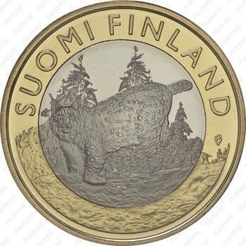 Медно-никелевая монета 5 евро 2015, рысь (реверс)