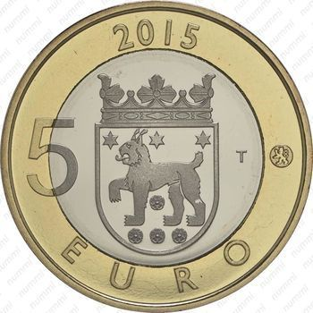 Медно-никелевая монета 5 евро 2015, рысь (аверс)