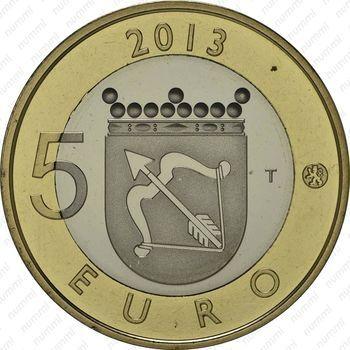 Медно-никелевая монета 5 евро 2013, крепость Олафсборг (реверс)