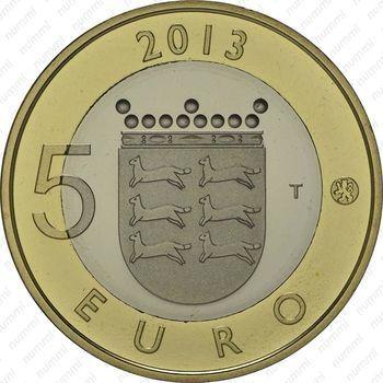 Медно-никелевая монета 5 евро 2013, дом (реверс)