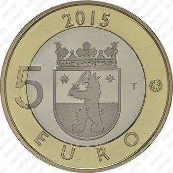 Медно-никелевая монета 5 евро 2015, бобр (аверс)