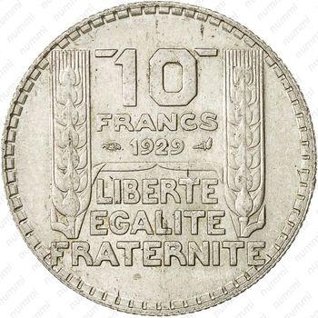 10 франков 1929 - Реверс