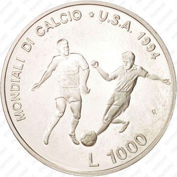 1000лир 1994, ЧМ по футболу - Реверс