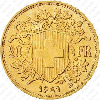 20 франков 1927 - Реверс