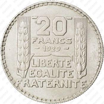 20 франков 1929 - Реверс