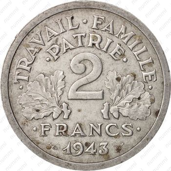 2 франка 1943, B - Реверс