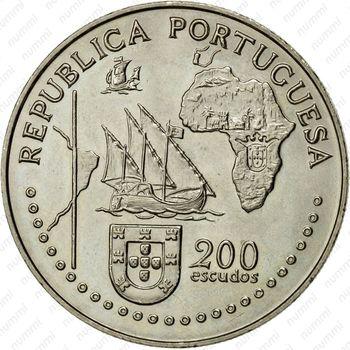 200 эскудо 1994, Тордесильясский договор - Аверс