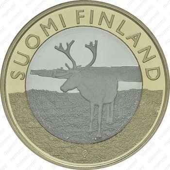 Медно-никелевая монета 5 евро 2015, северный олень (реверс)