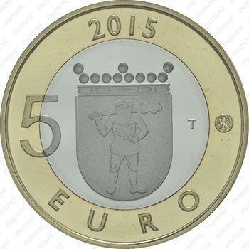 Медно-никелевая монета 5 евро 2015, северный олень (аверс)
