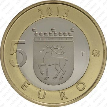 Медно-никелевая монета 5 евро 2013, маяк острова Сельскер (реверс)