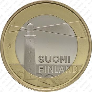 Медно-никелевая монета 5 евро 2013, маяк острова Сельскер (аверс)