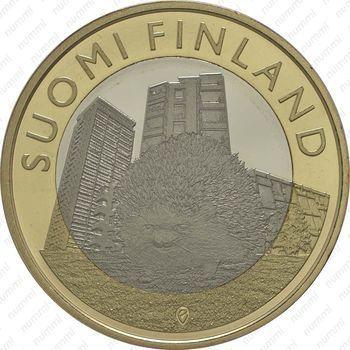 Медно-никелевая монета 5 евро 2015, ёж (реверс)