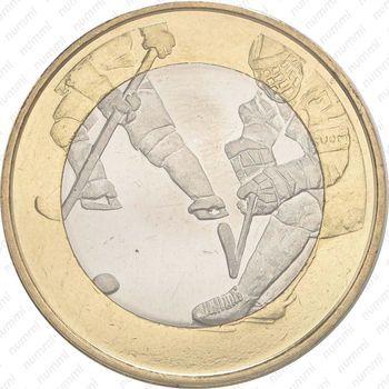 Медно-никелевая монета 5 евро 2016, хоккей (реверс)