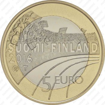 5 евро 2016, футбол - Аверс