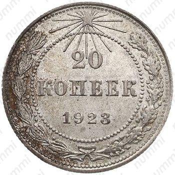 20 копеек 1923, ости колосьев над щитом короткие - Реверс