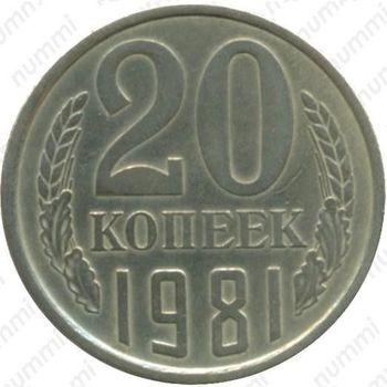 20 копеек 1981, перепутка - Реверс