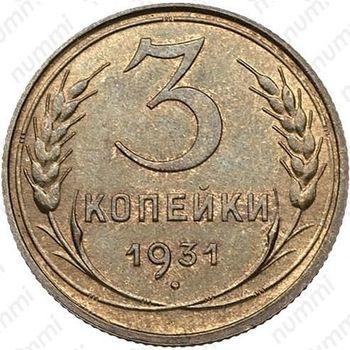 3 копейки 1931, специальный чекан